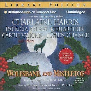 Audiobook cover for Wolfsbane and Mistletoe (audiobook) featuring Keri Arthur